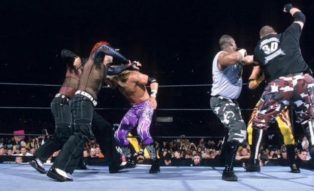 Adam Copeland, Jeff Hardy, Matt Hardy, Devon Hughes, Mark LoMonaco, and Jay Reso in WrestleMania X-Seven (2001)