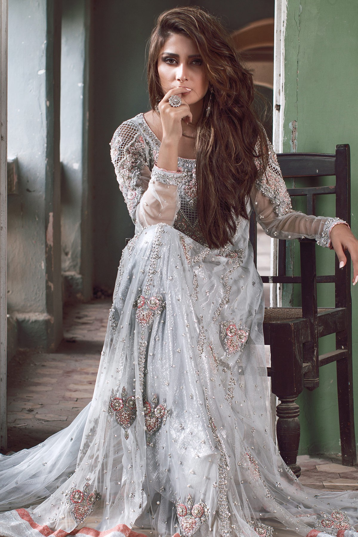 Aiza Khan elegant look in Pakistani bridal wear DRIZZLE by Sana Abbas