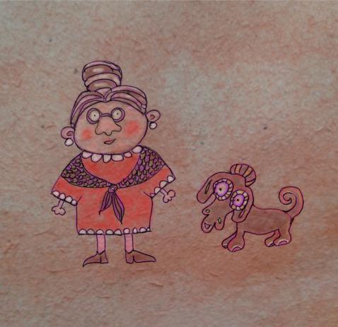 Illusztráció gyerekvershez, idős, kontyos, vállkendős hölgy gyanús külsejű, földönkívüli eredetű, lilán villogó szemű tacskó kutyáját sétáltatja