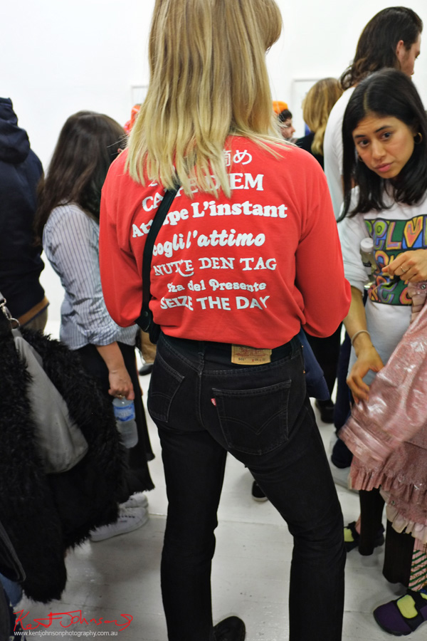 Red sweatshirt with slogans - Seize the day - Photography by Kent Johnson for Street Fashion Sydney.