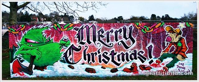 Weihnachten, graffiti, merry christmas street art