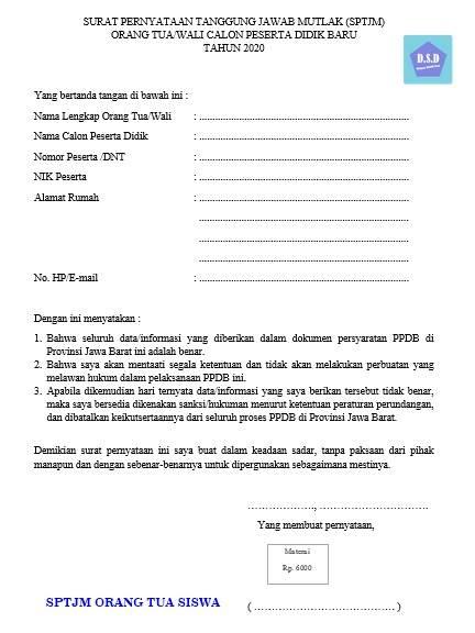 Contoh Sptjm Orang Tua Siswa Dan Dokumennya Dokumen Sekolah Dasar
