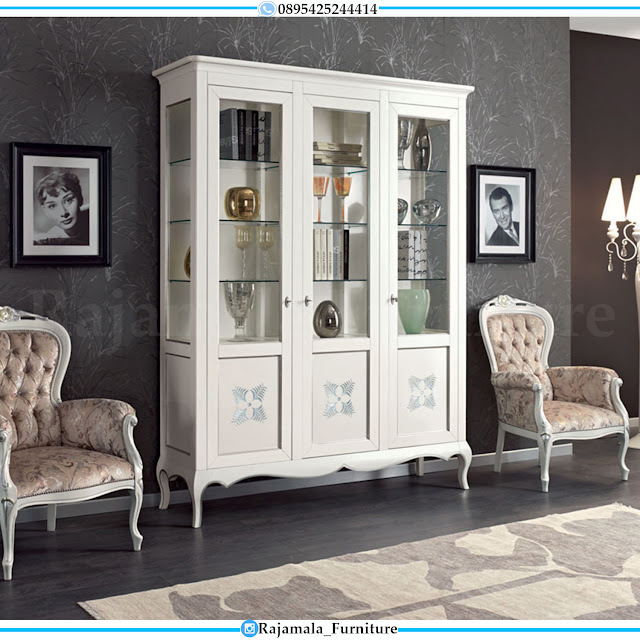 Lemari Hias Minimalis Putih Duco Luxury Style Classic Interior RM-0426