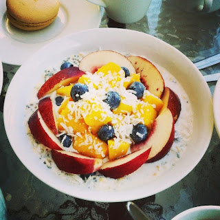 Instagram Peach Mango Blueberries Rolled Oats Breakfast