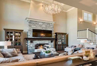 Living room with nice fireplace focal point.