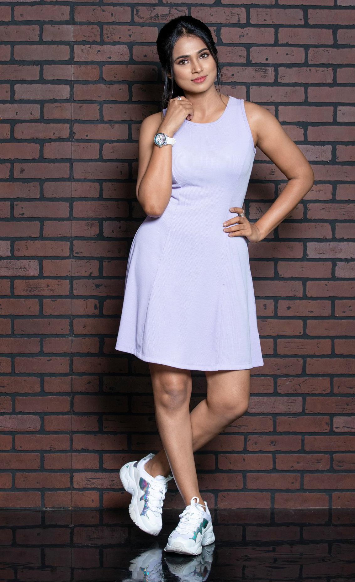 Ramya Pandian Photos In Bodycon Dress Stills
