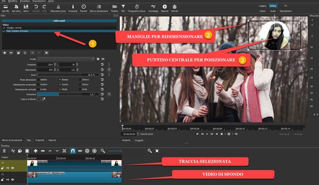 posizionare e ridimensionare video circolare