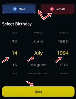 Gender select kar birthday select kare fir next par click kare