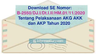 Download Surat Edaran/ SE Nomor B-2550/DJ.I/Dt.I.II/HM.01/11/2020 Tentang Pelaksanaan Asesmen Kompetensi AKG, AKK, dan AKP Tahun 2020 I PDF