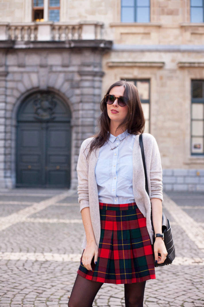 Outfit: cashmere cardigan, vintage plaid mini skirt
