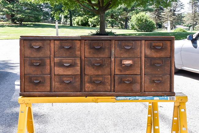 Damaged vintage card catalog