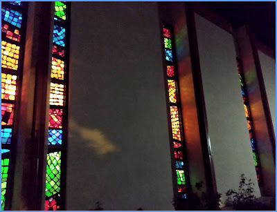 stained glass windows at night catholic church immaculate heart of mary las cruces