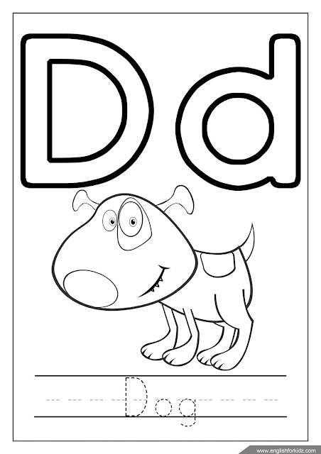 Alphabet coloring page, letter d coloring, d is for dog