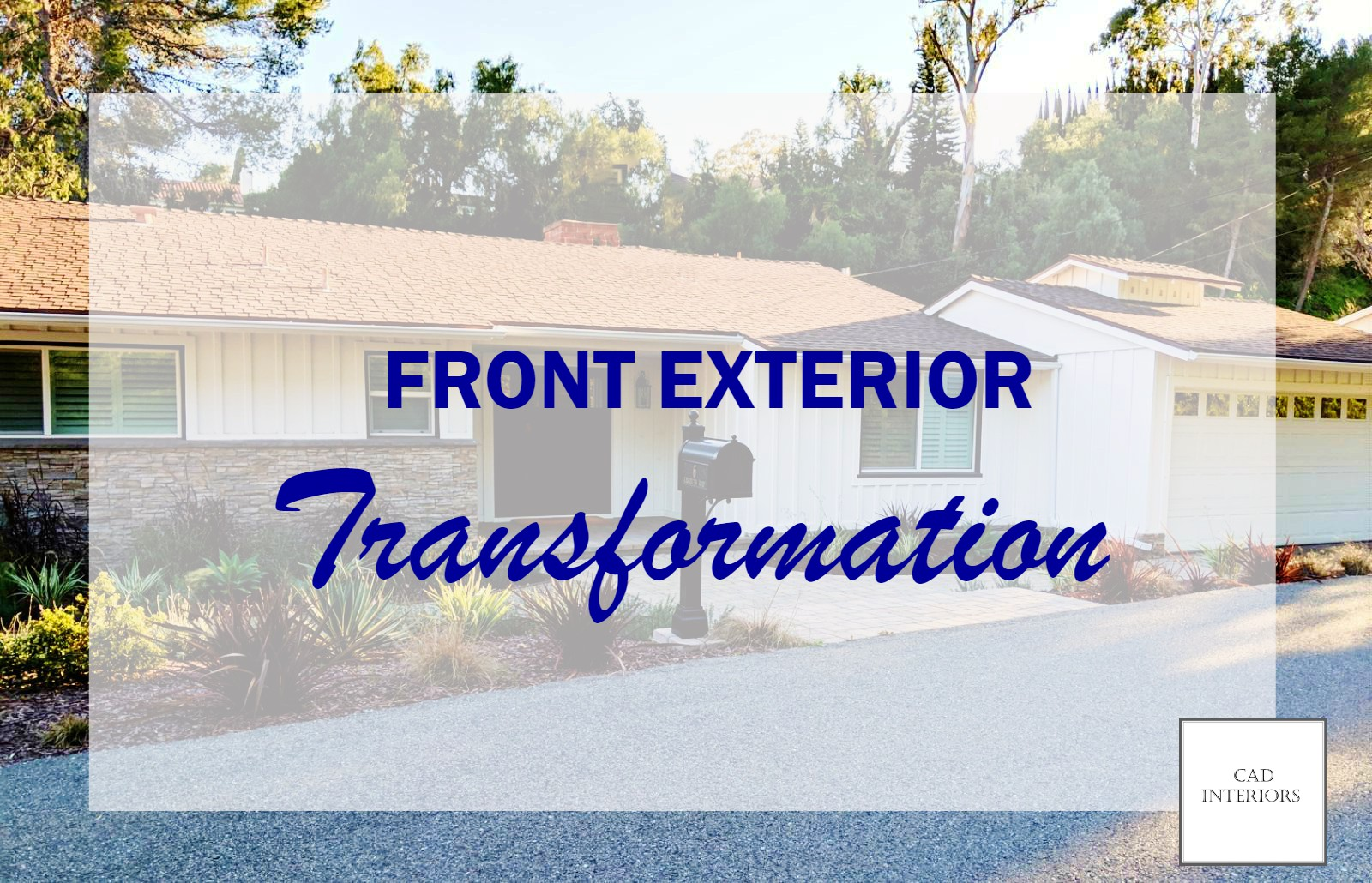 home renovation exterior improvement remodel mid-century traditional craftsman ranch house white black door board and batten drought tolerant landscaping pea gravel pathway stone paver hardscape CAD Interiors home renovation curb appeal real estate