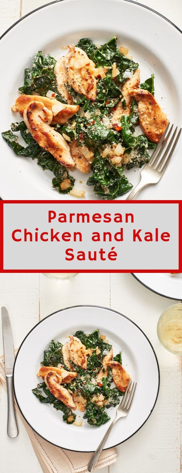 Parmesan Chicken and Kale Sauté #parmesan #chicken