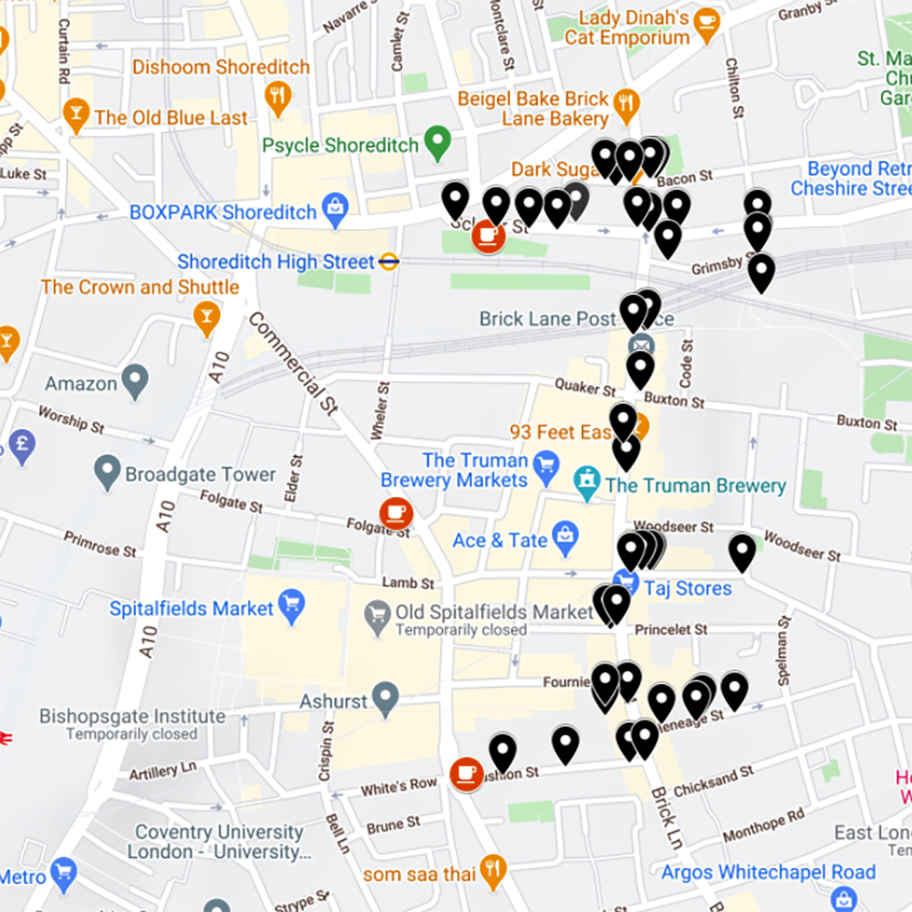 A map of our Brick Lane Street Art walking tour in East London