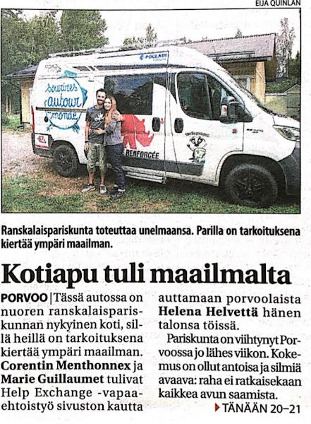 Article dans le journal Finlandais Uusimaa