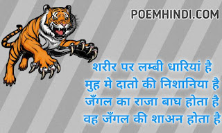 Poem On Tiger In Hindi Bagh Chita
