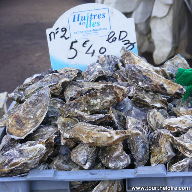 Oysters at a market, Indre et Loire, France. Photo by Loire Valley Time Travel.