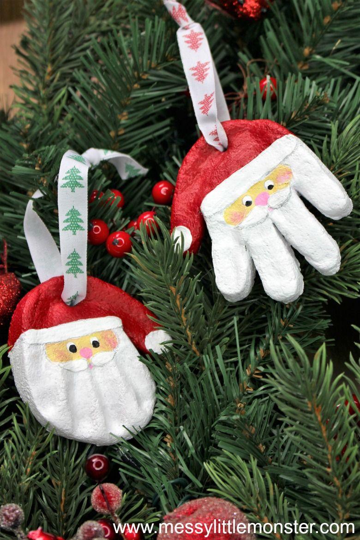 Santa salt dough handprint ornaments