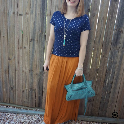 awayfromtheblue Instagram navy polka dot foil tee and ochre rust maxi skirt Balenciaga first bag