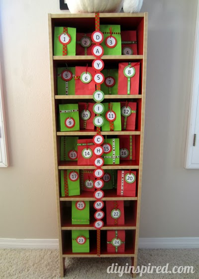 Upcycling an old cd tower for this beautiful Advent calendar