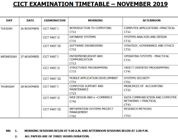 CICT Examination Timetable – November 2019