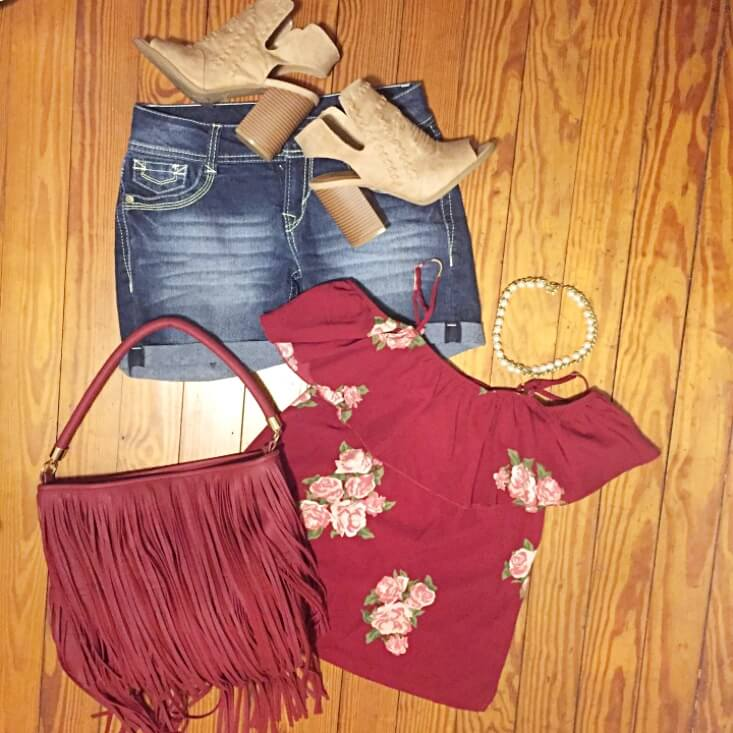 floral cold shoulder top outfit of the day summer 2018