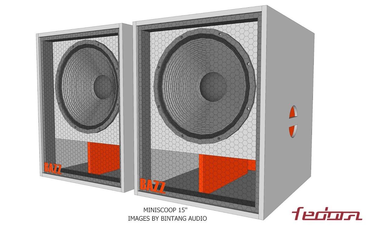 Tampak hasil akhir miniscoop speaker box 15 inch