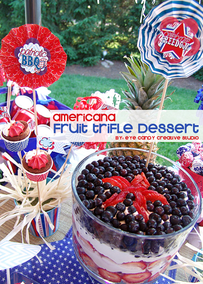 fruit trifle dessert, 4th of july, patriotic BBQ, red white & blue, picnic