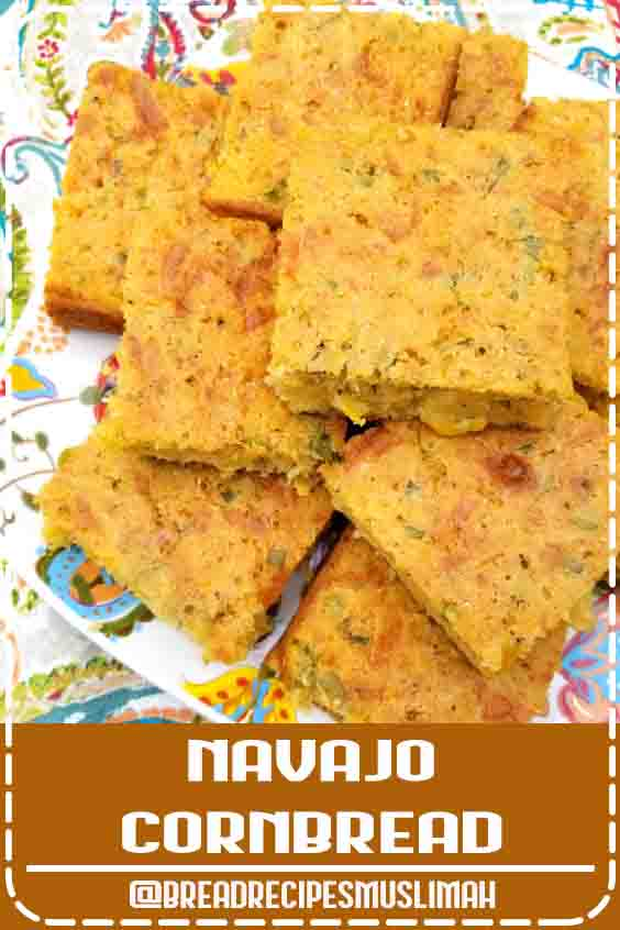 Navajo Cornbread! A rustic, savory cornbread recipe chocked full of jalapeno peppers, jack cheese, creamed corn and green onions.  #bread #recipes #easy #dessert
