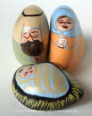 painted rocks, unique nativity sets, Spring, Cindy Thomas