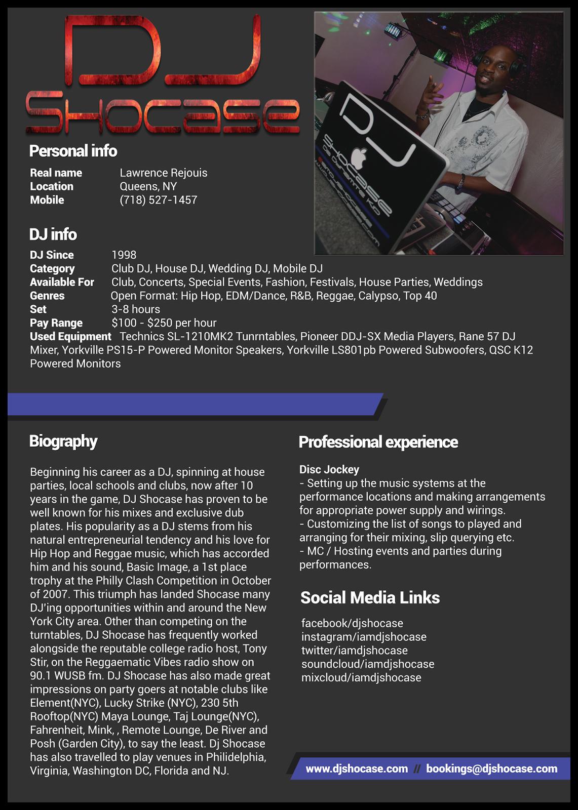Dj Shocase Electronic Press Kit