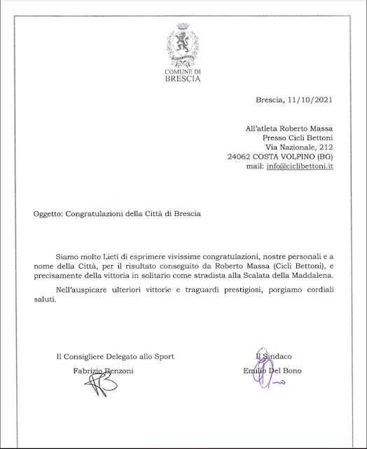 Congratulazioni dalla Città di Brescia