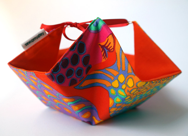 Fabric Basket with Ties: Tutorial + Pattern