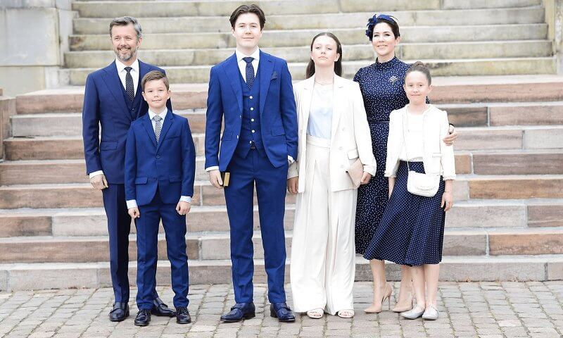 Princess Isabella wore a new Abra french nougat blazer and trousers from InWear. Iris and Ink Alison polka-dot satin midi dress