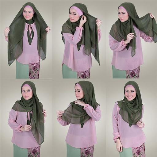 kreasi jilbab segi empat desain simple elegan modis dan modern terbaru 2017