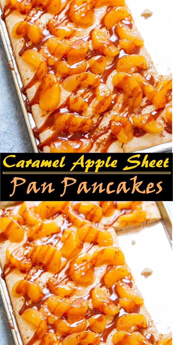 Caramel Apple Sheet Pan Pancakes #breakfastideas