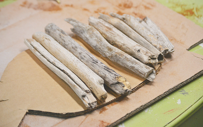 driftwood pieces in size order