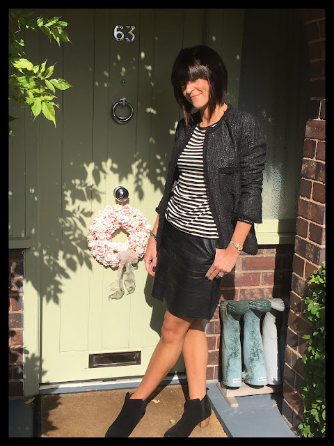 My Midlife Fashion, Zara A Line Faux leather Skirt, Breton, Stripes, Monochrome, Boucle Jacket, mango ankle boots