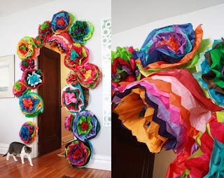 tissue paper flower doorway