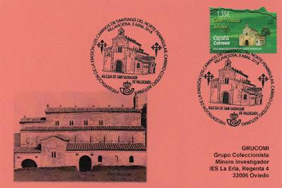 tarjeta, matasellos, sello, Valdediós, conventín, Camino de Santiago