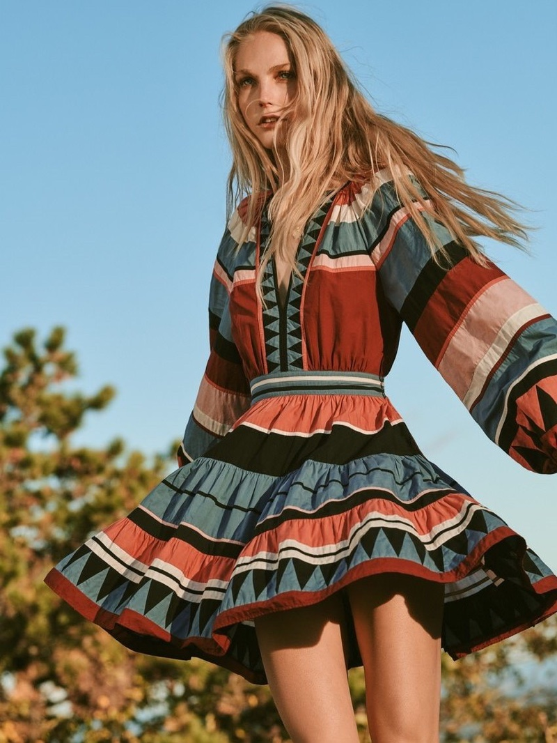 A colorful striped print dress comes with a banded waist and v-neckline.