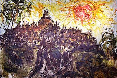 "Pelukis: Affandi Tahun: 1983 Judul : "" Borobudur Sore Hari "" Ukuran : 98cm X 130cm Media : Oil on Canvas"