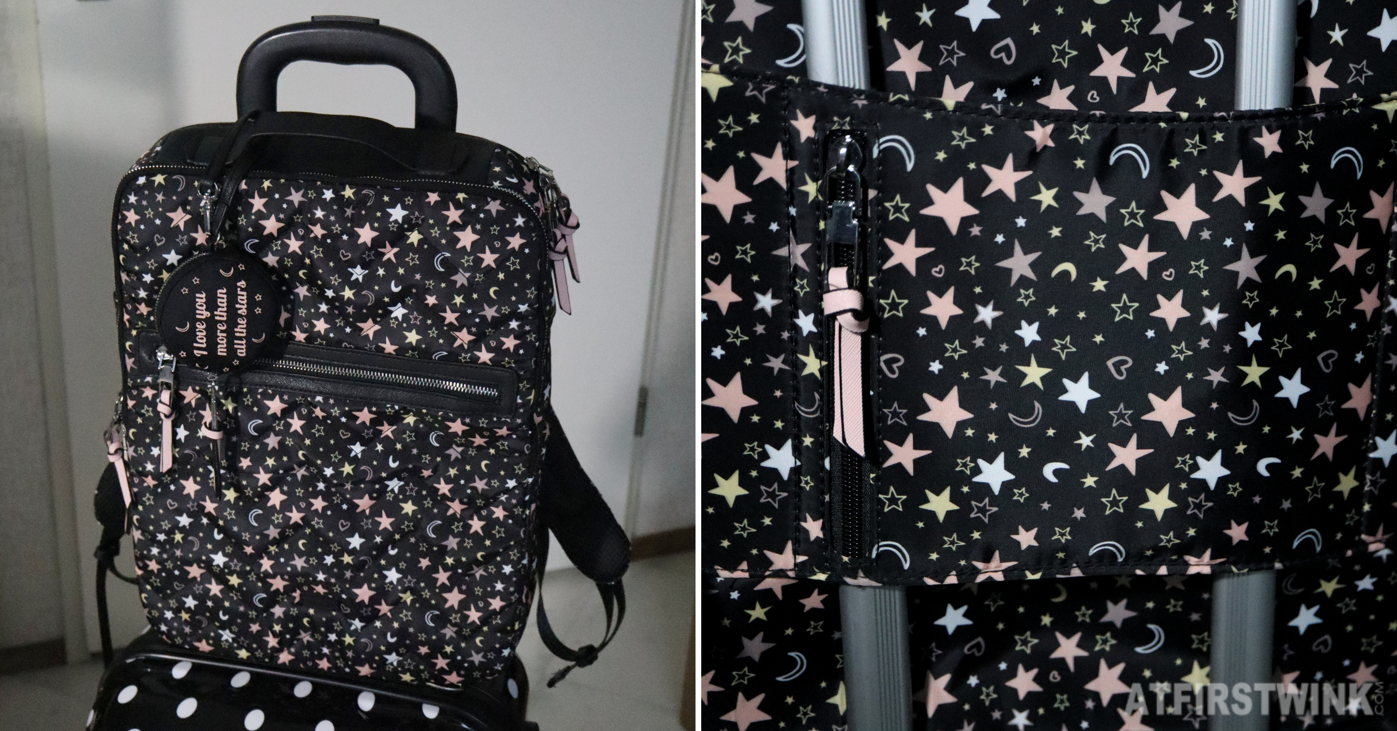 Parfois star pattern black backpack suitcase
