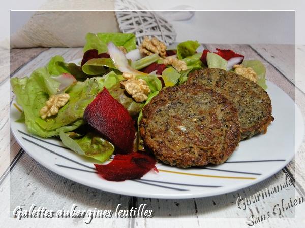 Galette aubergines lentilles ou steak végétarien