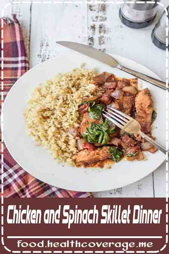 CHICKEN AND SPINACH SKILLET DINNER IS AN EASY DELICIOUS DINNER YOU CAN HAVE ON THE TABLE IN NO TIME AT ALL. LOOKING FOR HEALTHY CHICKEN AND SPINACH RECIPES? START HERE!