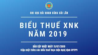 BIỂU THUẾ XNK 2019 (Bản cập nhật ngày 11/07/2019)