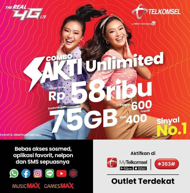 Paket Combo Sakti Telkomsel 25GB Unlimited