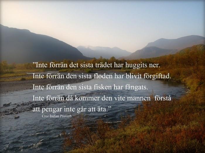 """""""Inte förrän det sista trädet har huggits ner. Inte förrän den sista floden har blivit förgiftad. Inte förrän den sista fisken har fångats. Inte förrän då kommer den vite mannen att märka att pengar inte går att äta."""""""